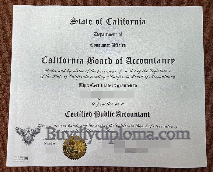 California CPA certificate