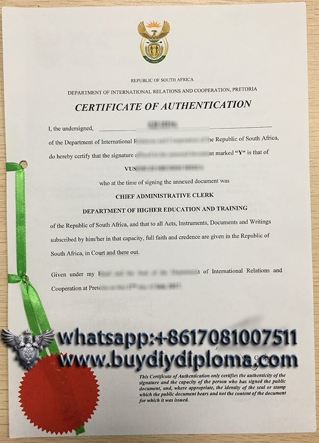 republic of south africa certificate of authentication