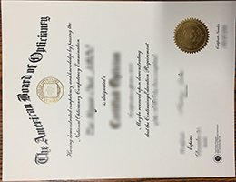 American Board of Opticianry certificate
