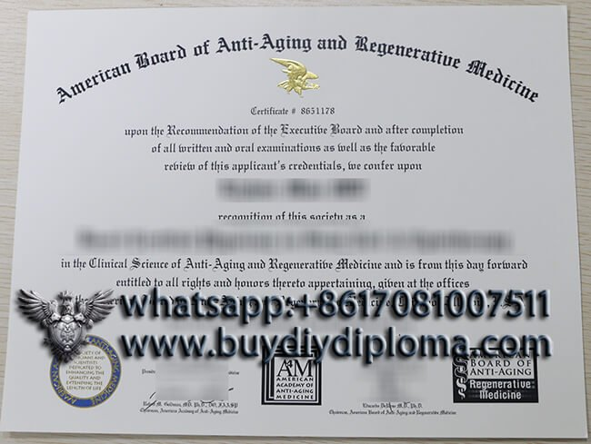 American Academy of Anti-Aging Medicine diploma
