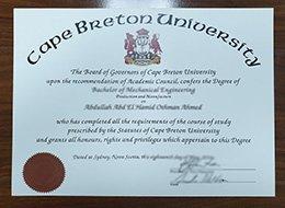 Cape Breton University degree