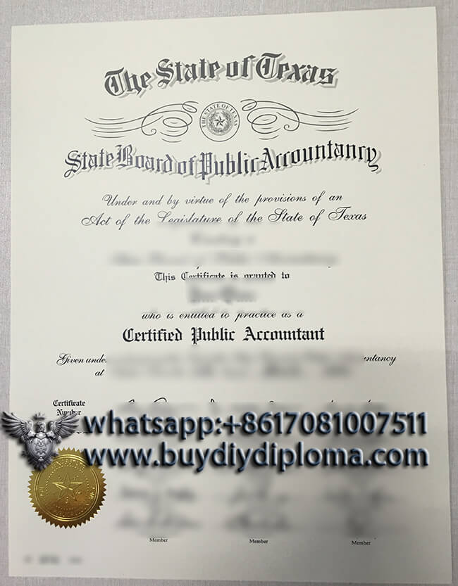 Texas State CPA certificate