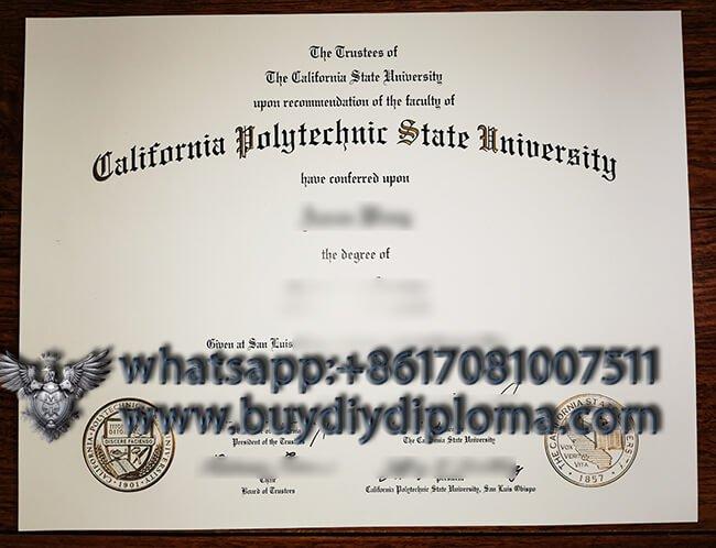 California Polytechnic State University diploma sample, buy fake degree from USA.