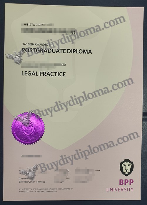 The BPP University diploma with Metallic Foil Dual Color Seal
