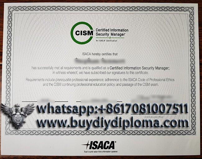Get a Fake CISM Certificate. buy fake certificate online
