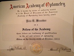 American Academy of Optometry certificate, fake American Academy of Optometry license, fake AAO certificate,