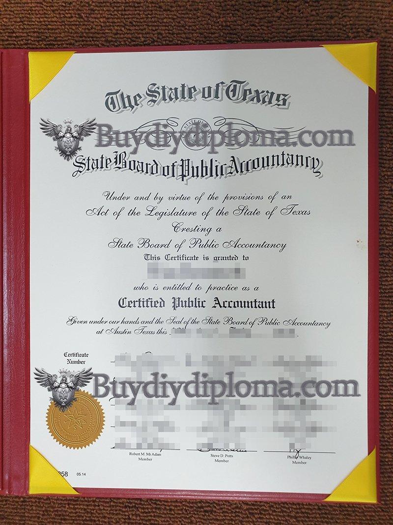 Buy Fake Texas CPA Certificate