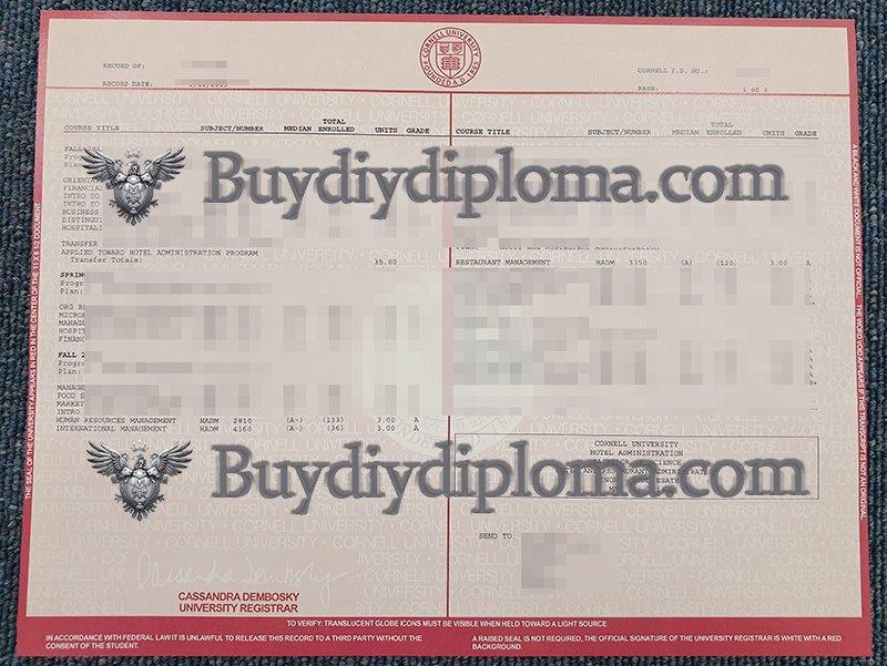 Buy fake Cornell University transcript