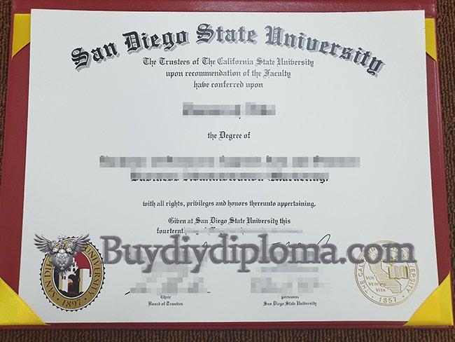 San Diego State University diploma