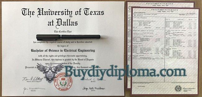 UTD diploma and transcript