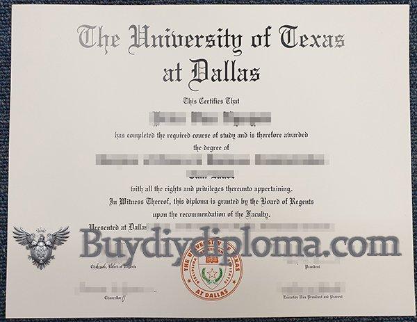 fake University of Texas at Dallas diploma