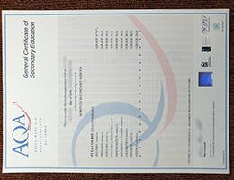 fake AQA GCSE CERTIFICATE