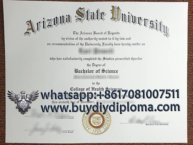 Buy Arizona State University fake diploma and transcript