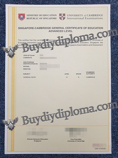 fake SINGAPORE-CAMBRIDGE GENERAL CERTIFICATE OF EDUCATIONADVANCED LEVEL certificate