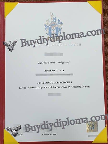 fake UNIVERSITY of PORTSMOUTH diploma