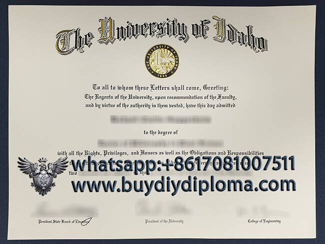 fake University of Idaho diploma