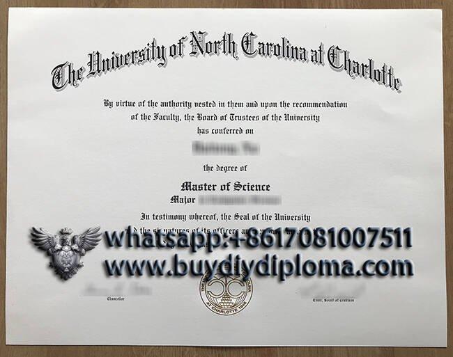 fake University of North Carolina at Charlotte diploma