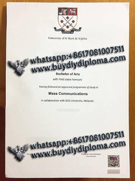 fake University of St Mark & St John diploma