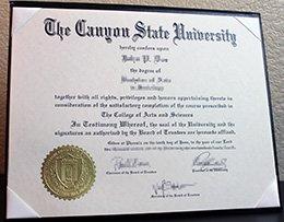 Canyon State University diploma