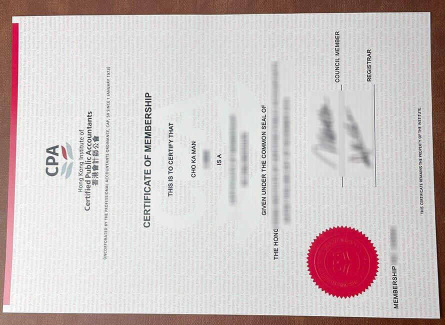 HKICPA certificate
