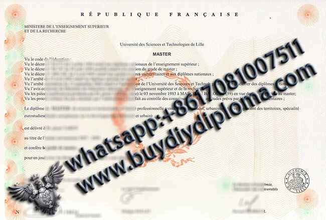 université des science et technologies de lille Diplôme, Buy France Diploma