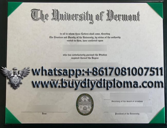 University of Vermont UVM diploma2