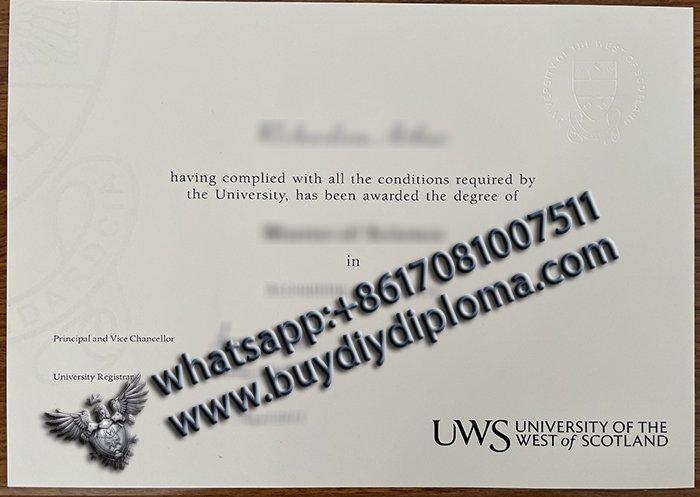 buy fake UWS Degree, University of the West of Scotland (UWS) diploma 2021 version?