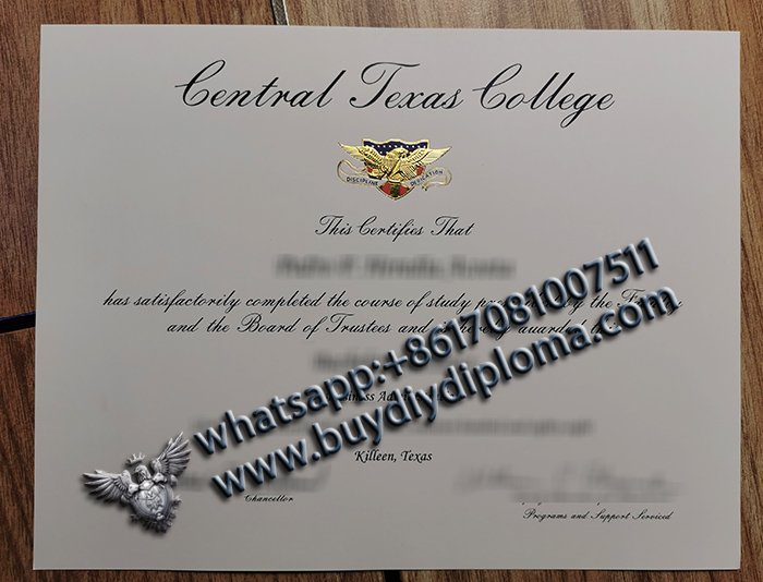 duplicated Fake Central Texas College Diploma, CTC fake degree