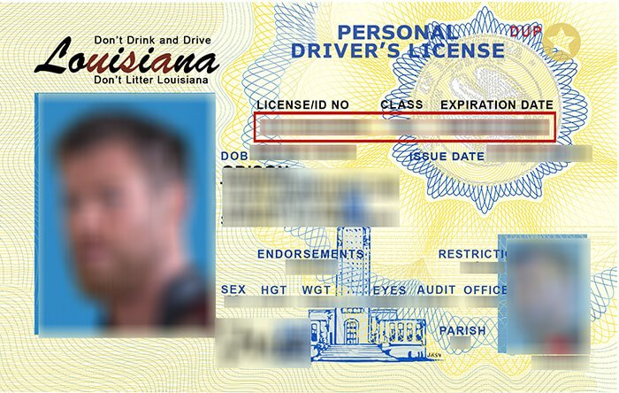 USA Louisiana (LA) Scannable Drivers License