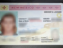 USA New Mexico (NM) Scannable Drivers License