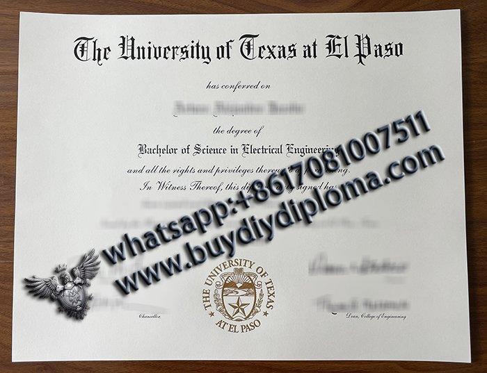 buy fake university of texas at el paso diploma