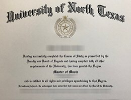 fake University of North Texas degree of master of music