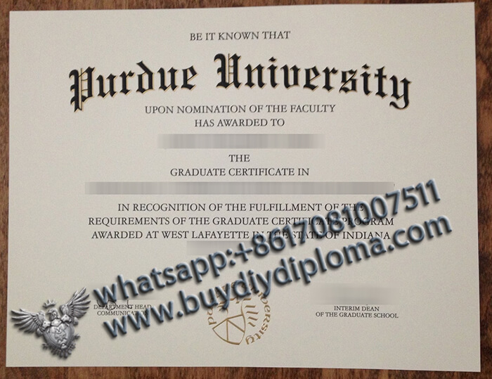 Purdue University certificate