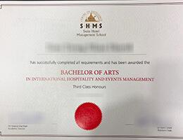 Swiss Hotel Management School certificate