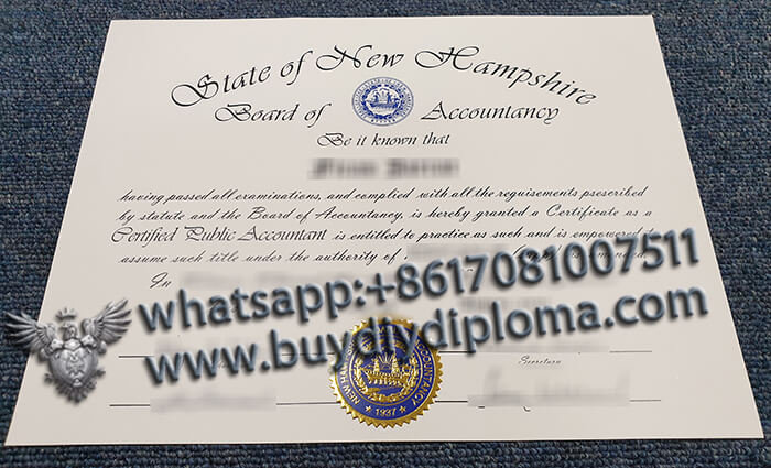 New Hampshire Board of Accountancy certificate