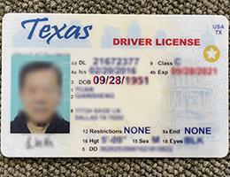 Texas scannable Driver License